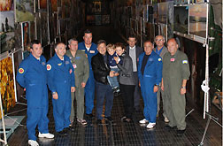 "Dmytro S. Kiva (at center with a family) - Ukrainian industrialist, president and chief designer of the state enterprise ""Antonov Company"", Hero of Ukraine with Director of the Producer Center Boyko Gallery ""Globus"" - Valeriy Boyko and the crew of the AN-225 ""Mriya"" aircraft."