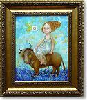 Телец или похищение Европы.  Овен или золотое руно.  57, холст,масло 20x25, 2009.